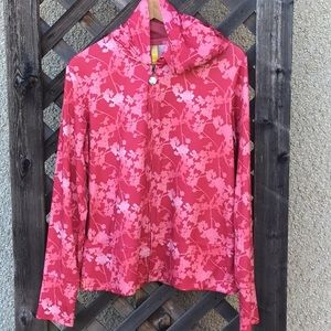 Lole pink flowered zip up jacket with hood